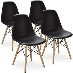 Kitchen Dining Chairs with Mid Century Modern Style Plastic Side Chair Armless Living Room and B ...