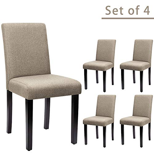 Furniwell Dining Chairs Fabric Padded Parson Urban Style Kitchen Side Chair with Solid Wood Legs ...