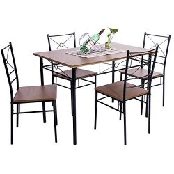 BEIZ & PENZ 5-Piece Dining Table Set Vintage Wood Top Home Kitchen Table with 4 Chairs Wood  ...