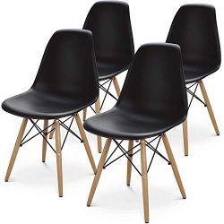 BUTII Set of 4 Mid Century Modern Style Dining Chair Side Chairs with Natural Wood Legs,Easy Ass ...