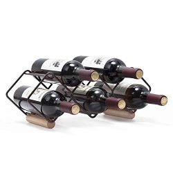 KINGRACK Tabletop Wine Rack, 5 Bottle Wine Holder Storage Stand with Stylish Design, Perfect for ...