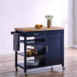 BELLEZE Wood Top Multi-Storage Cabinet Rolling Kitchen Island Table Cart with Wheels – Black