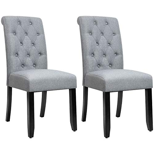 JUMMICO Dining Chair Fabric Tufted Upholstered Design Armless Chair with Solid Wood Legs Tall Ba ...
