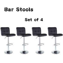 Bar Stools Barstools Set of 4 Kitchen Stools Height Adjustable PU Leather Swivel Stools Bar Chai ...