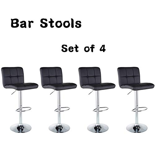Bar Stools Barstools Set of 4 Kitchen Stools Height Adjustable PU Leather Swivel Stools Bar Chai ...
