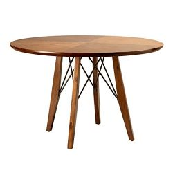 Ink+Ivy IIF20-0028 Clark Dining Table Height Adjustable to Counter-Height, Round Solid Wood Sits ...