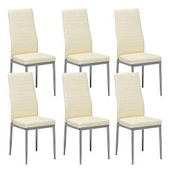 Mecor Dining Chairs Set of 6,Modern Dining Chairs High Back PU Leather with Steel Frame Legs Kit ...
