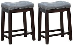 Angel Line 43418-49 Cambridge Bar Stools, 24″ Set of 2, Espresso with Gray Cushion