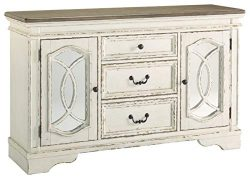 Signature Design by Ashley D743-60 Realyn Dining Room Server, Chipped White