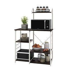WLIVE Kitchen Baker's Rack, 4-Tier Utility Storage Shelf, Microwave Oven Stand, Storage Ca ...