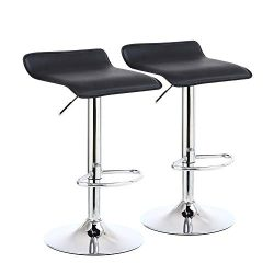KKTONER Square Bar Stools Set of 2 PU Leather Swivel Adjustable Counter Stool Black