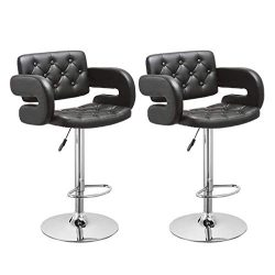 Iusun Set of 2 Swivel Stool Leopard Rolling Chair Bar Adjustment Height Office Seat Salon Cushio ...