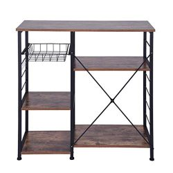 Beyonds Kitchen Vintage Baker's Rack Utility, Microwave Oven Stand Storage Cart Metal Fram ...