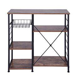 Beyonds Kitchen Vintage Baker's Rack Utility, Microwave Oven Stand Storage Cart Metal Fram ...