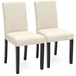 Best Choice Products Set of 2 Fabric Parsons Dining Chairs – Beige