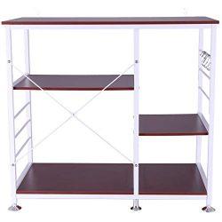 Fewear Ship from USA, 3-Tier Microwave Stand Storage Cart Shelf Kitchen Utility Cart Vintage Bak ...