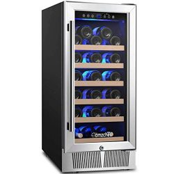 AMZCHEF 15″ Wine Cooler Refrigerator Built in or Freestanding Wine Cooler, Quiet, Constant ...
