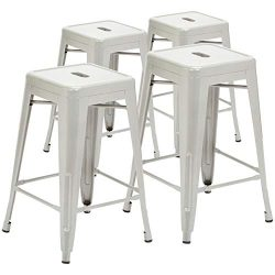 Pioneer Square Haley 24-Inch Backless Square-Seated Counter-Height Metal Stool, Set of 4, Silver Ice