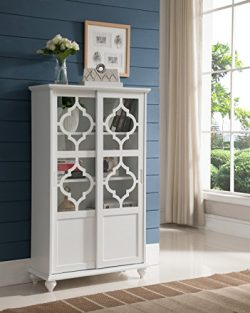 Kings Brand Furniture- Halswelle 2-Door White Curio Bookcase Cabinet with Glass Doors