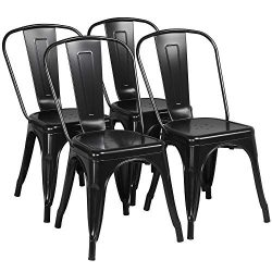 Yaheetech Iron Metal Dining Chairs Stackable Side Chairs Tolix Bar Chairs with Back Indoor/Outdo ...