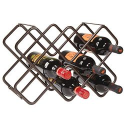 mDesign Metal Free-Standing Wine Rack Storage Organizer for Kitchen Countertops, Pantry, Fridge  ...