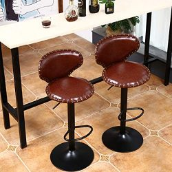 Bar Stools Brown Faux Leather Bar Chairs Dining Stools, 2 Pcs Computer Chair for Kitchen Island  ...