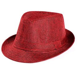 DondPO Wide Brim Straw Fedora Beach Sun Hat Women or Men Woolen Felt Vintage Short Brim Crushabl ...