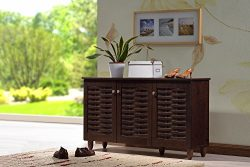 Baxton Studio Wholesale Interiors Winda Modern and Contemporary 3-Door Dark Brown Wooden Entrywa ...