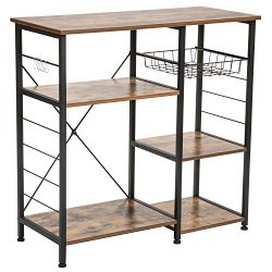 IRONCK Industrial Kitchen Baker's Rack, Kitchen Island Utility Storage Shelf, Microwave Ov ...