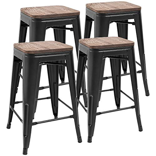 JUMMICO Metal Bar Stools Indoor-Outdoor Stackable Modern 24 Inches Black Metal Counter Height In ...