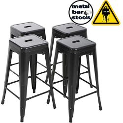 FDW Counter Height Bar Stools Set of 4 Bar Stools 30 Inches Metal Stool Patio Stool Stackable Ba ...