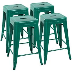 Devoko Metal Bar Stools 24″ Indoor Outdoor Stackable Barstools Modern Style Industrial Vin ...