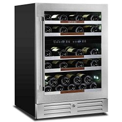 "Sipmore Wine Cooler Refrigerator 24"" Dual Zone 37 Multi Sized Bottle Built-in or Freestand ..."