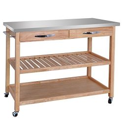 ZENSTYLE 3-Tier Rolling Kitchen Island Utility Wood Serving Cart Stainless Steel Countertop Kitc ...