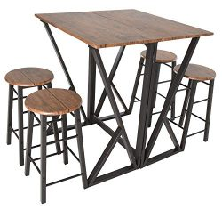 Zenvida 5 Piece Pub Dining Set Drop Leaf Bar Height Kitchen Table with 4 Stools