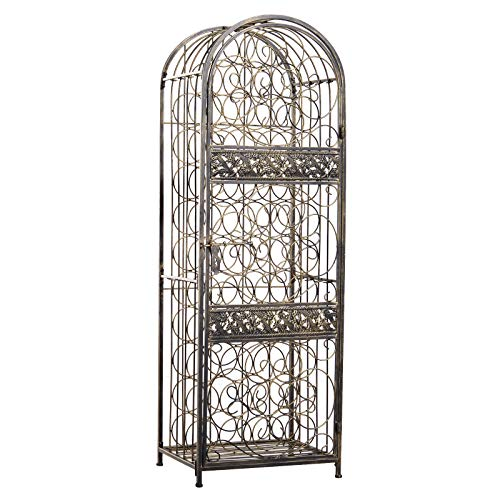 HOMCOM 45 Bottle Wrought Iron Wine Rack Jail with Lock – Antique Bronze