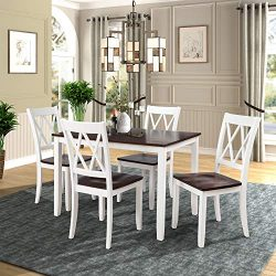 Merax Dining Table Set Kitchen Dining Table Set for 4, Wood Table and Chairs Set (White & Ch ...