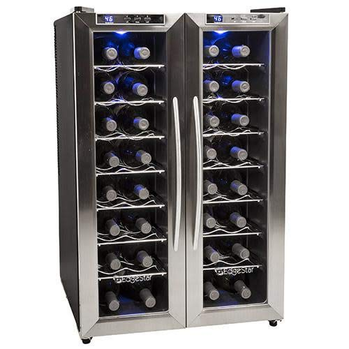 EdgeStar TWR325ESS 32 Bottle Dual Zone Wine Cooler with Stainless Steel Trimmed French Doors and ...