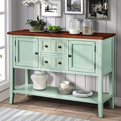 Hooseng Console Buffet Sideboard Sofa Table with 4 Storage Drawers Two Cabinets and Bottom Shelf ...