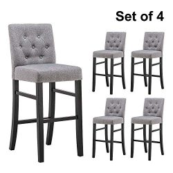 YEEFY Button-Tufted Fabric Barstools Dining High Bar Height Side Chairs 30″, Set of 4 (Gray)