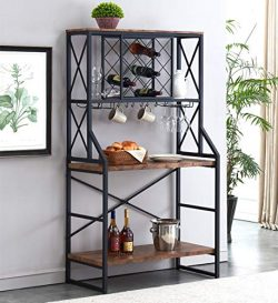 HOMYSHOPY Wine Rack Table, Industrial Bakers Racks with Stemware Holder and Storage Hooks, Metal ...