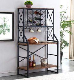 HOMYSHOPY Wine Rack Table, Industrial Bakers Racks with Stemware Holder and Storage Hooks, Metal ...