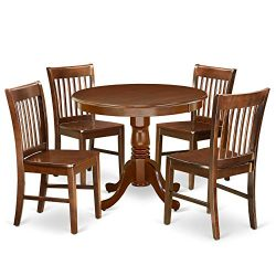 East West Furniture ANNO5-MAH-W 5Pc Rounded 36″ Table and 4 Wood Seat Dining Chairs, 5, Ma ...