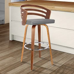 Armen Living  Jayden Mid-Century Swivel Counter Height Barstool, 26″, Gray