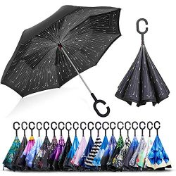 ZOMAKE Double Layer Inverted Umbrella Cars Reverse Umbrella, UV Protection Windproof Large Strai ...
