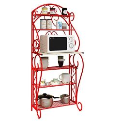 HOME BI 5-Tier Kitchen Bakers Rack Microwave Stand Kitchen Cart with Red Finish Shelves Spice Ra ...