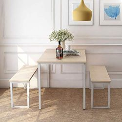 Rhomtree 3 Pieces Dining Set Table with 2 Benches Kitchen Dining Room Furniture Modern Style Woo ...