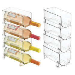 mDesign Plastic Free-Standing Water Bottle and Wine Rack Storage Organizer for Kitchen Counterto ...