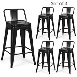 COSTWAY Metal Bar stools Set of 4, with Removable Back, Cafe Side Chairs with Rubber Feet, Styli ...
