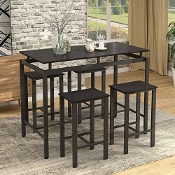 Dining Table Set, Rockjame 5 Piece Counter Height Pub Table Set with 4 Chairs for The Bar, Break ...